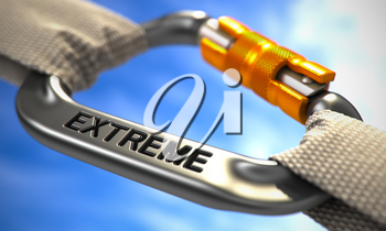 Chrome Carabine with White Ropes on Sky Background, Symbolizing the Extreme. Selective Focus. 3D Render.