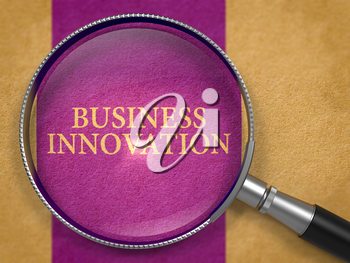 Business Innovation through Magnifying Glass on Old Paper with Dark Lilac Vertical Line Background. 3D Render.