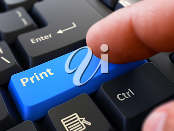 Finger Presses Blue Button  Print on Black Keyboard Background. Closeup View. Selective Focus. 3D Render.