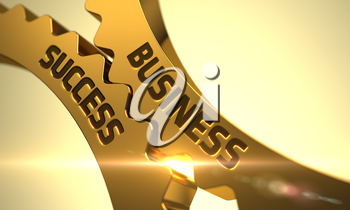 Business Success on the Mechanism of Golden Metallic Cog Gears with Lens Flare. Business Success on the Golden Gears. Business Success - Illustration with Lens Flare. 3D.