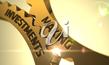 Making Investments - Concept. Making Investments on the Golden Metallic Cog Gears. Making Investments on the Mechanism of Golden Cogwheels with Lens Flare. Making Investments - Industrial Design. 3D.