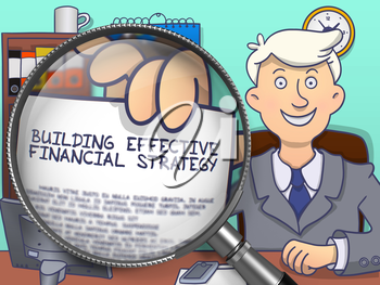 Building Effective Financial Strategy through Lens. Man Shows Concept on Paper. Closeup View. Colored Modern Line Illustration in Doodle Style.