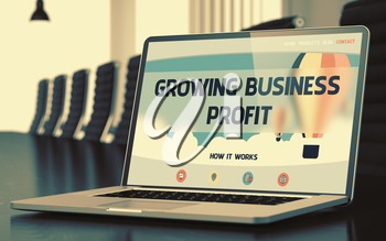 Growing Business Profit Concept. Closeup of Landing Page on Mobile Computer Display in Modern Meeting Hall. Toned Image with Selective Focus. 3D Render.