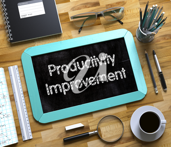 Productivity Improvement Concept on Small Chalkboard. Small Chalkboard with Productivity Improvement. 3d Rendering.