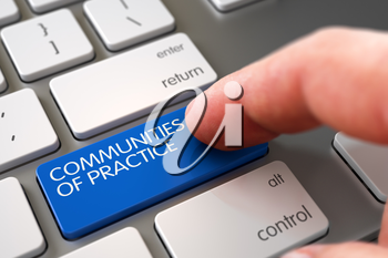 Selective Focus on the Blue Communities Of Practice Button. 3D Illustration.
