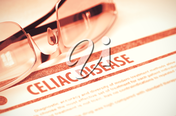 Celiac Disease - Printed Diagnosis on Red Background and Pair of Spectacles Lying on It. Medical Concept. Blurred Image. 3D Rendering.