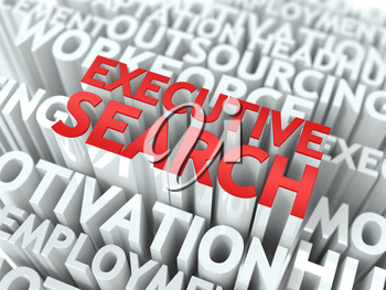 Executive Search - Words in Red Color Surrounded by a Cloud of Words Gray. Wordcloud Concept.
