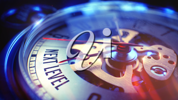 Business Concept: Next Level Wording. on Pocket Watch Face with Close Up View of Watch Mechanism. Time Concept with Selective Focus and Lens Flare Effect. 3D Render.