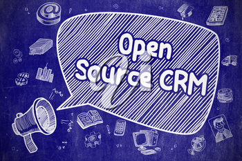 Open Source CRM on Speech Bubble. Cartoon Illustration of Yelling Bullhorn. Advertising Concept. Speech Bubble with Text Open Source CRM Cartoon. Illustration on Blue Chalkboard. Advertising Concept.