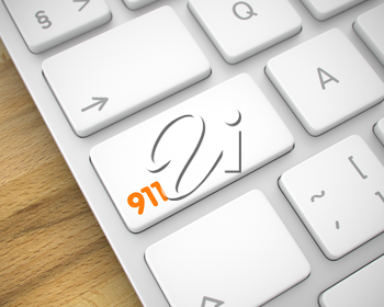 Business Concept: 911 on the Slim Aluminum Keyboard lying on the Wood Background. 3D Render.