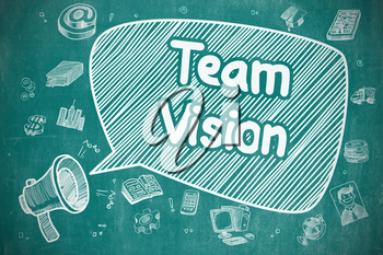 Team Vision on Speech Bubble. Doodle Illustration of Shrieking Bullhorn. Advertising Concept. Shouting Mouthpiece with Phrase Team Vision on Speech Bubble. Hand Drawn Illustration. Business Concept.