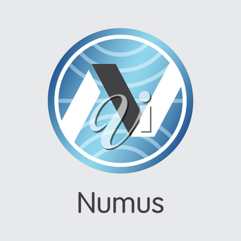 Numus - Cryptocurrency Coin Image. Vector Trading Sign of Digital Currency Icon on Grey Background. Vector Coin Symbol NMS.