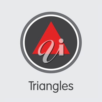 Triangles Vector Graphic Symbol for Internet Money. Cryptographic Currency Pictogram Symbol of TRI and Pictogram Symbol for using in Web Projects or Mobile Applications.