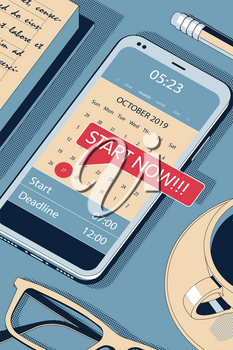 Start Now Concept with Clipboard, Modern Smartphone, Ball Pen and Glasses. Flat Lay, Top View. Vector Halftone Isometric Illustration.