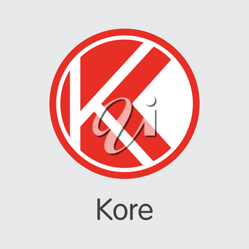 Kore - Digital Currency Coin Symbol. Vector Pictogram Symbol of Digital Currency Icon on Grey Background. Vector Graphic Symbol KORE.