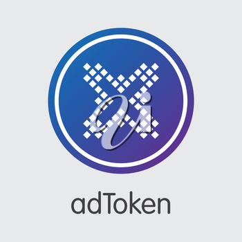 Adtoken - Cryptographic Currency Concept. Colored Vector Icon Logo and Name of Digital Currency on Grey Background. Vector Pictogram Symbol for Exchange ADT.