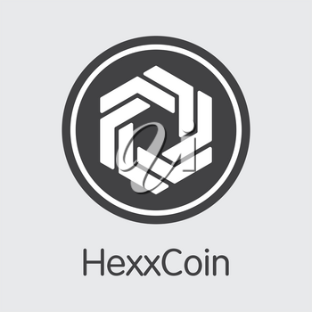 Hexxcoin. Virtual Currency. HXX Pictogram Symbol Isolated on Grey Background. Stock Vector Colored Logo.