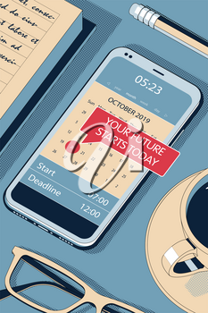 Your Future - Concept. Red Speech Bubble - Reminder in Calendar of the Modern Smartphone. Vector Halftone Isometric Illustration.