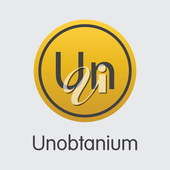 Unobtanium Vector Graphic Symbol for Internet Money. Cryptocurrency Icon of UNO and Illustration for using in Web Projects or Mobile Applications.