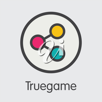 Truegame Finance. Digital Currency - Vector Pictogram Symbol. Modern Computer Network Technology Trading Sign. Digital Element of TGAME. Concept Design Element.