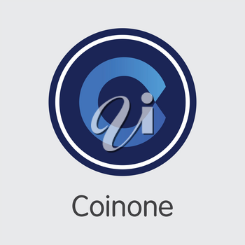 Exchange - Coinone. The Crypto Coins or Cryptocurrency Logo. Market Emblem, Coins ICOs and Tokens Icon.