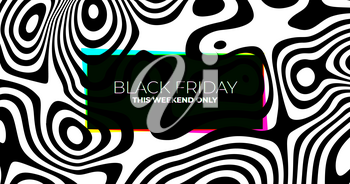 Black Friday Sale Banner with Black and White Lines or Stripes. Vector Geometric Pattern.