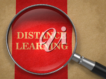 Online Learning concept. Magnifying Glass on Old Paper with Red Vertical Line Background.