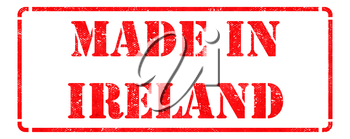 Made in Ireland - Inscription on Red Rubber Stamp Isolated on White.