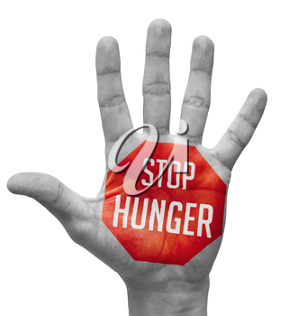Stop Hunger Sign Painted - Open Hand Raised, Isolated on White Background.