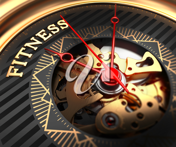 Fitness on Black-Golden Watch Face with Watch Mechanism. Full Frame Closeup.