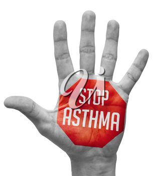 Stop Asthma  - Red Sign Painted - Open Hand Raised, Isolated on White Background