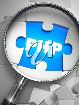 PHP - Word on the Place of Missing Puzzle Piece through Magnifier. Selective Focus.