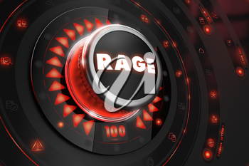Rage Controller on Black Control Console with Red Backlight. Danger or Risk Control Concept.