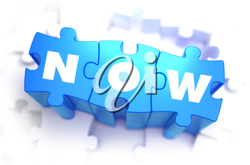 Now - Text on Blue Puzzles on White Background. 3D Render.