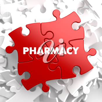 Pharmacy on Red Puzzles on White Background.