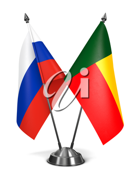 Russia and Benin - Miniature Flags Isolated on White Background.