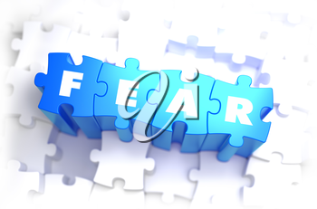 Fear - White Word on Blue Puzzles on White Background. 3D Illustration.