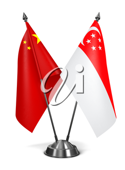 China and Singapore - Miniature Flags Isolated on White Background.