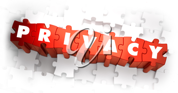 Privacy - White Word on Red Puzzles on White Background. 3D Render.