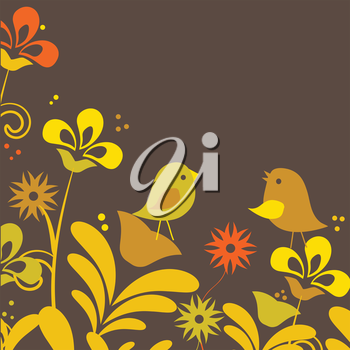 Royalty Free Clipart Image of Two Birds on Flowers
