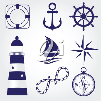 Royalty Free Clipart Image of Marine Elements