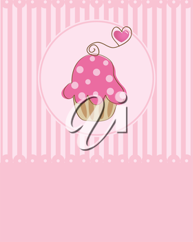 Cute vector  bakery background with small cupcake