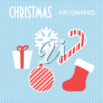 Christmas elements on blue knitted background. Vintage vector greeting card