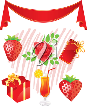 Vector illustration of Set of red objects