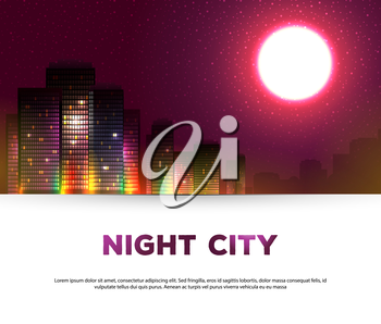 Vector illustration of Night urban city background