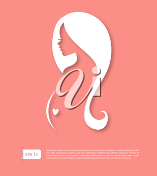 Vector illustration of Pregnant woman silhouette image