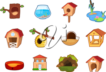 Set of different objects, home places for different animals