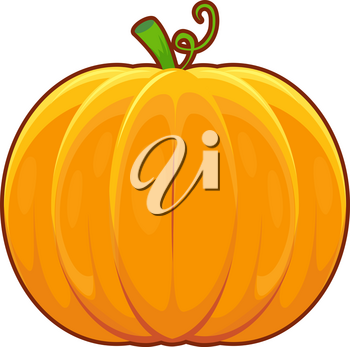 Vector illustration of cartoon autumn pumpkin on white background