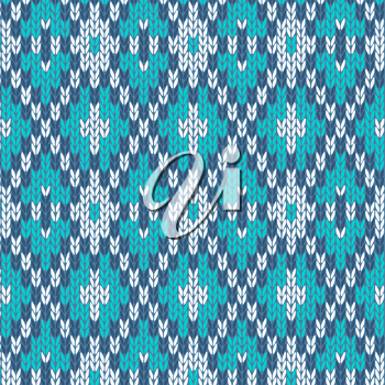 Seamless Knitted Pattern. Style Knit woolen jacquard ornament texture. Fabric color tracery background
