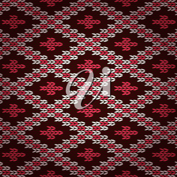 Seamless Red Knitted Pattern